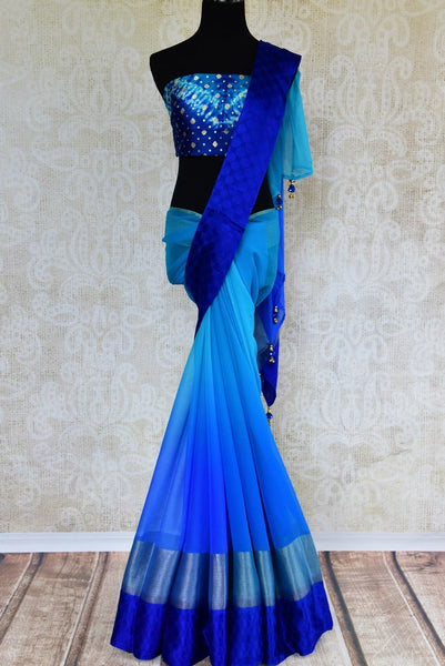 Buy blue chiffon sari with shiburi Banarasi blouse online in USA. Pure Elegance clothing store brings an exquisite range of Indian chiffon sarees in USA for women. -full view