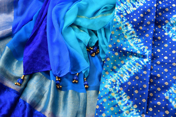 Buy blue chiffon sari with shiburi Banarasi blouse online in USA. Pure Elegance clothing store brings an exquisite range of Indian chiffon sarees in USA for women. -details