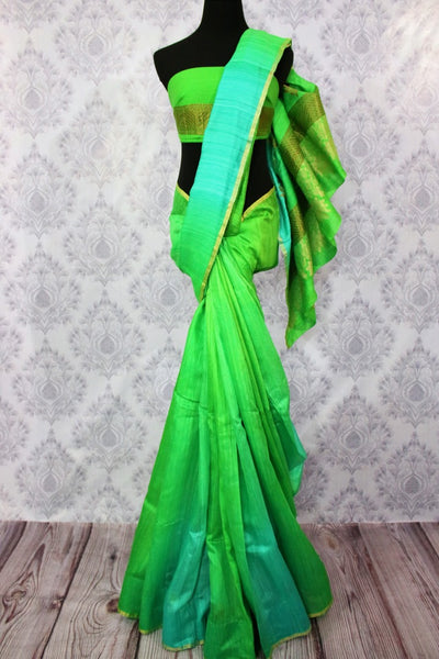 Buy parrot green and blue matka Banarasi saree online in USA. Pure Elegance fashion store brings a stunning range of Indian woven Banarasi sarees for weddings in USA.-full view