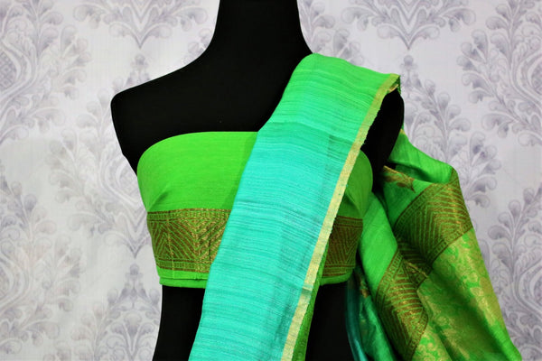 Buy parrot green and blue matka Banarasi saree online in USA. Pure Elegance fashion store brings a stunning range of Indian woven Banarasi sarees for weddings in USA.-blouse pallu