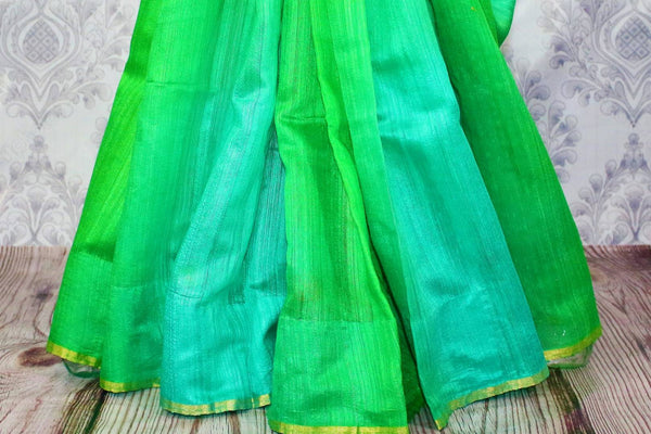 Buy parrot green and blue matka Banarasi saree online in USA. Pure Elegance fashion store brings a stunning range of Indian woven Banarasi sarees for weddings in USA.-pleats