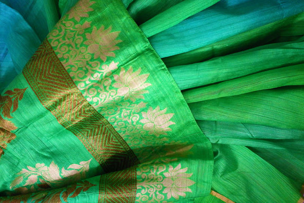 Buy parrot green and blue matka Banarasi saree online in USA. Pure Elegance fashion store brings a stunning range of Indian woven Banarasi sarees for weddings in USA.-details