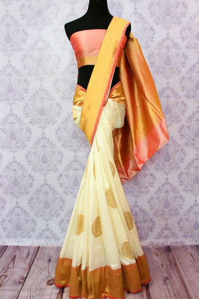Buy off white Banarasi saree online in USA. Choose from an exquisite range of traditional Indian Banarasi silk sarees at Pure Elegance store in USA or shop online.-full view