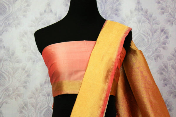 Buy off white Banarasi saree online in USA. Choose from an exquisite range of traditional Indian Banarasi silk sarees at Pure Elegance store in USA or shop online.-blouse pallu
