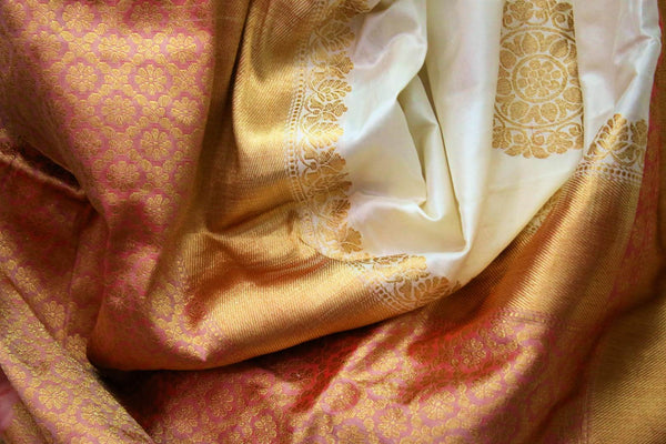 Buy off white Banarasi saree online in USA. Choose from an exquisite range of traditional Indian Banarasi silk sarees at Pure Elegance store in USA or shop online.-details