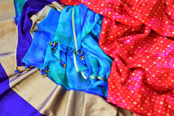 Buy blue chiffon saree with pink shiburi Banarasi blouse online in USA. Pure Elegance clothing store brings an exquisite range of Indian chiffon sarees in USA for women. -details