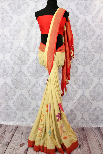 Buy ethnic cream tussar Banarasi georgette saree online in USA. Pure Elegance fashion store brings a stunning variety of Indian designer wedding sarees in USA for women.-full view