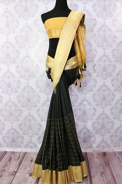 Buy black checker linen Banarasi saree online in USA. Choose from an exquisite range of Indian designer Banarasi linen sarees at Pure Elegance store in USA or shop online.-full view