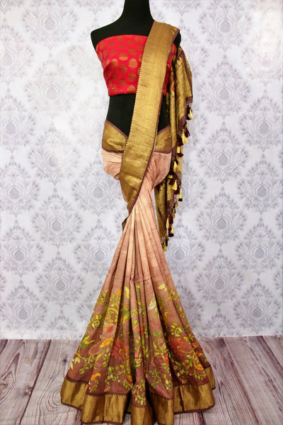 Buy brown tassar Banarasi georgette printed saree online in USA. Choose from a stunning range of Indian designer sarees at Pure Elegance store in USA or shop online.-full view