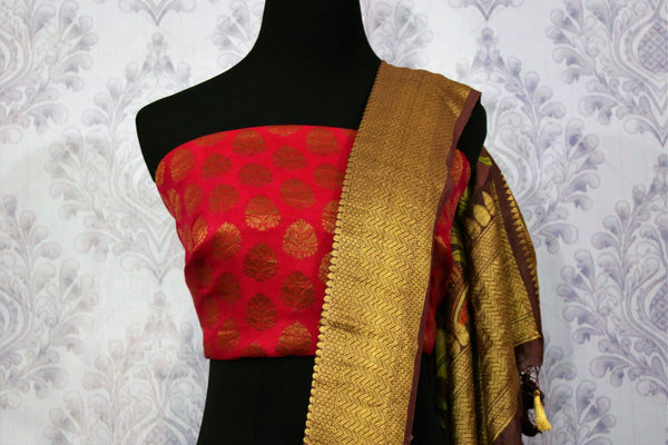 Buy brown tassar Banarasi georgette printed saree online in USA. Choose from a stunning range of Indian designer sarees at Pure Elegance store in USA or shop online.-blouse pallu