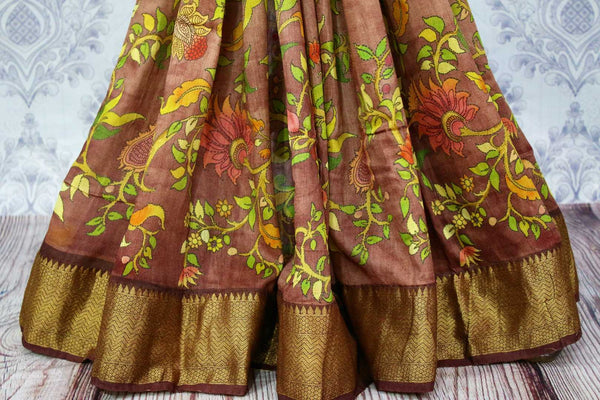 Buy brown tassar Banarasi georgette printed saree online in USA. Choose from a stunning range of Indian designer sarees at Pure Elegance store in USA or shop online.-pleats