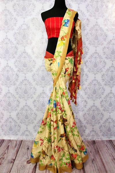 Buy cream tussar georgette Banarasi printed sari online in USA. Choose from a stunning range of stylish Indian printed sarees at Pure Elegance store in USA or shop online.-full view