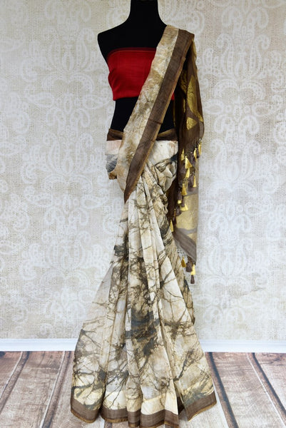 Buy cream and brown chanderi saree online in USA. Pure Elegance fashion store brings an exclusive range of ethnic Indian Chanderi sarees in USA for women. Shop online.-full view