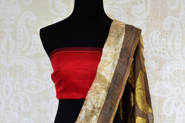 Buy cream and brown chanderi saree online in USA. Pure Elegance fashion store brings an exclusive range of ethnic Indian Chanderi sarees in USA for women. Shop online.-blouse pallu
