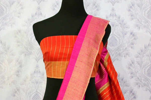 Buy bright pink Bhagalpur tassar silk saree online in USA. Choose from a stunning range of Indian woven Bhagalpuri sarees at Pure Elegance store in USA or shop online.-blouse pallu