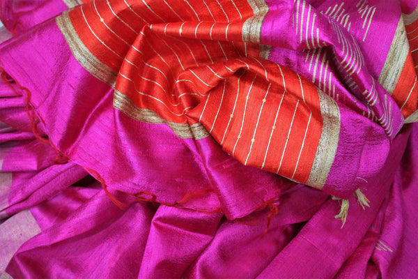 Buy bright pink Bhagalpur tassar silk saree online in USA. Choose from a stunning range of Indian woven Bhagalpuri sarees at Pure Elegance store in USA or shop online.-details