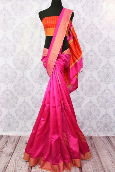 Buy bright pink Bhagalpur tassar silk saree online in USA. Choose from a stunning range of Indian woven Bhagalpuri sarees at Pure Elegance store in USA or shop online.-full view