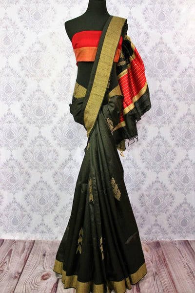 Buy black Bhagalpuri tussar silk saree online in USA. Choose from an exquisite range of Indian designer silk sarees for weddings at Pure Elegance store in USA or shop online.-full view