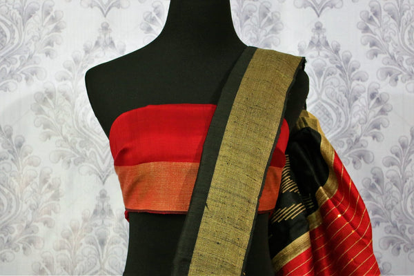 Buy black Bhagalpuri tussar silk saree online in USA. Choose from an exquisite range of Indian designer silk sarees for weddings at Pure Elegance store in USA or shop online.-blouse pallu