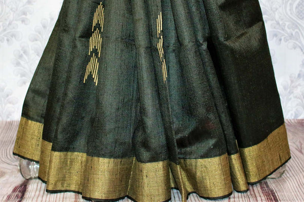 Buy black Bhagalpuri tussar silk saree online in USA. Choose from an exquisite range of Indian designer silk sarees for weddings at Pure Elegance store in USA or shop online.-pleats