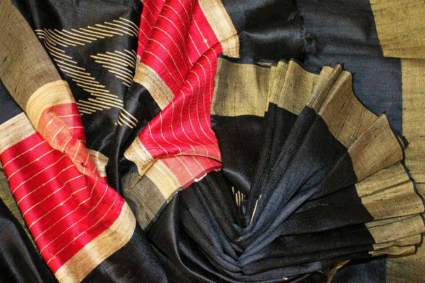 Buy black Bhagalpuri tussar silk saree online in USA. Choose from an exquisite range of Indian designer silk sarees for weddings at Pure Elegance store in USA or shop online.-details
