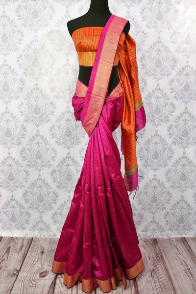 Buy pink Bhagalpur tassar silk saree online in USA. Choose from an exquisite range of Indian woven silk sarees for weddings at Pure Elegance store in USA or shop online.-full view