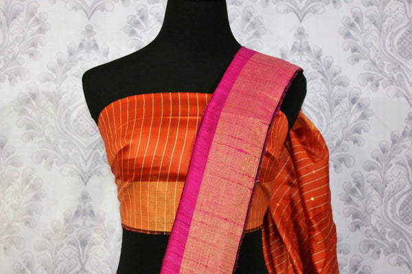Buy pink Bhagalpur tassar silk saree online in USA. Choose from an exquisite range of Indian woven silk sarees for weddings at Pure Elegance store in USA or shop online.-blouse pallu