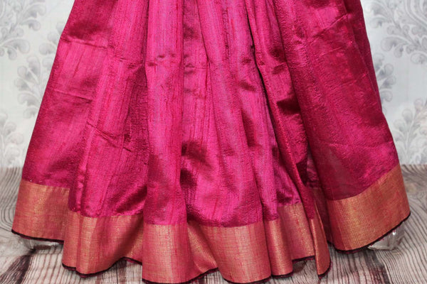Buy pink Bhagalpur tassar silk saree online in USA. Choose from an exquisite range of Indian woven silk sarees for weddings at Pure Elegance store in USA or shop online.-pleats