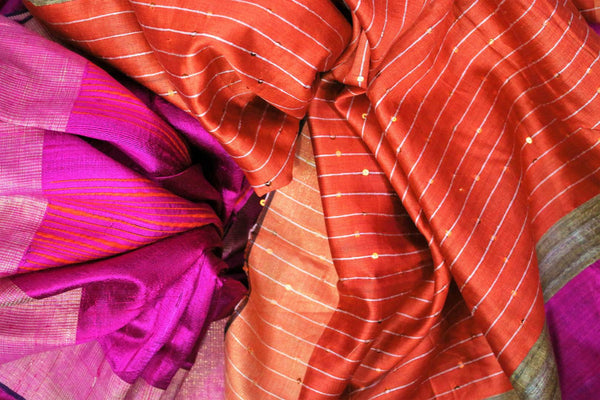 Buy pink Bhagalpur tassar silk saree online in USA. Choose from an exquisite range of Indian woven silk sarees for weddings at Pure Elegance store in USA or shop online.-details