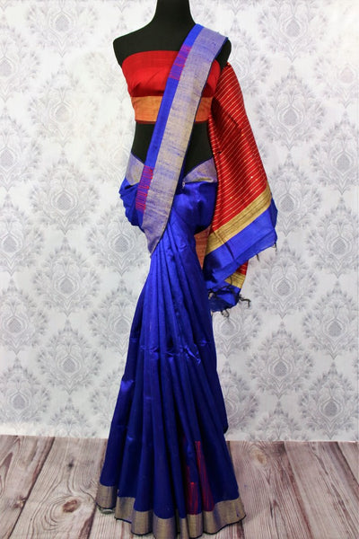 Buy blue Bhagalpur tassar silk saree online in USA. Choose from a stunning range of Indian Bhagalpuri silk sarees at Pure Elegance store in USA or shop online.-full view