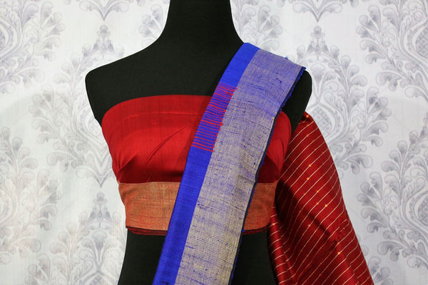 Buy blue Bhagalpur tassar silk saree online in USA. Choose from a stunning range of Indian Bhagalpuri silk sarees at Pure Elegance store in USA or shop online.-blouse pallu