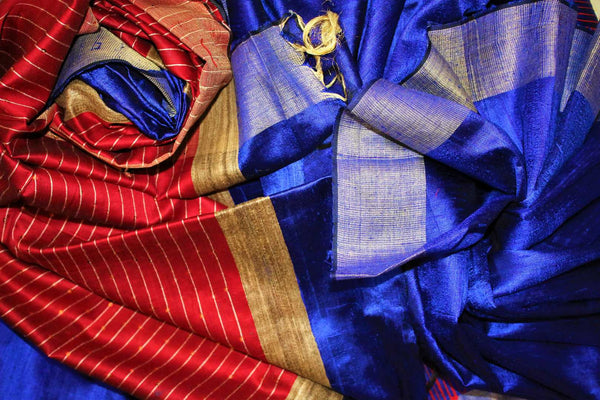Buy blue Bhagalpur tassar silk saree online in USA. Choose from a stunning range of Indian Bhagalpuri silk sarees at Pure Elegance store in USA or shop online.-details