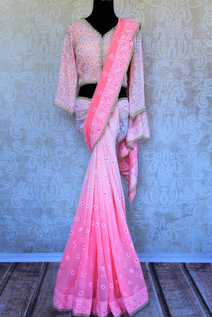 Buy pink lucknowi embroidery georgette saree online in USA. Pure Elegance store brings a stunning collection of Indian designer sarees for weddings in USA. Shop online.-full view