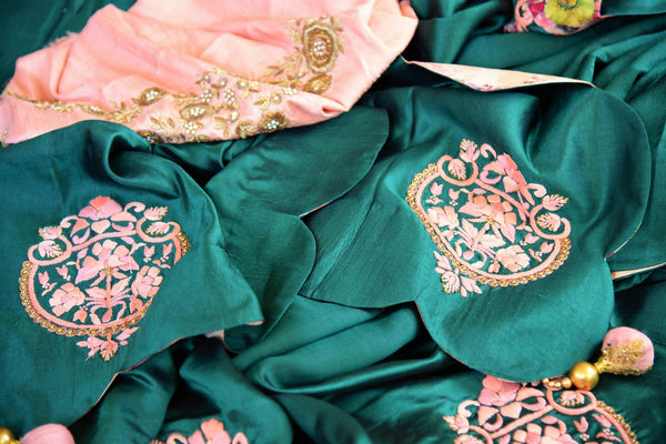 Buy dark green embroidered silk saree online in USA. Pure Elegance store brings an exquisite collection of Indian silk sarees for online shopping in USA. Buy now.-details
