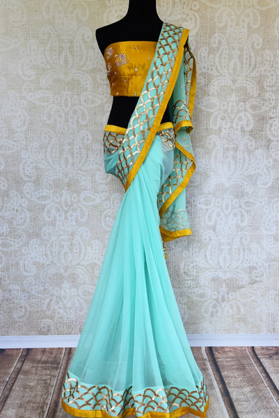 Buy sky blue hand embroidery chiffon saree online in USA. Pure Elegance clothing store brings exquisite range of Indian designer sarees for online shopping in USA.-full view