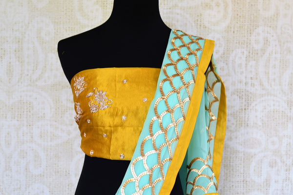 Buy sky blue hand embroidery chiffon saree online in USA. Pure Elegance clothing store brings exquisite range of Indian designer sarees for online shopping in USA.-blouse pallu