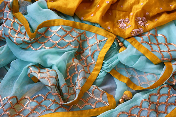 Buy sky blue hand embroidery chiffon saree online in USA. Pure Elegance clothing store brings exquisite range of Indian designer sarees for online shopping in USA.-details