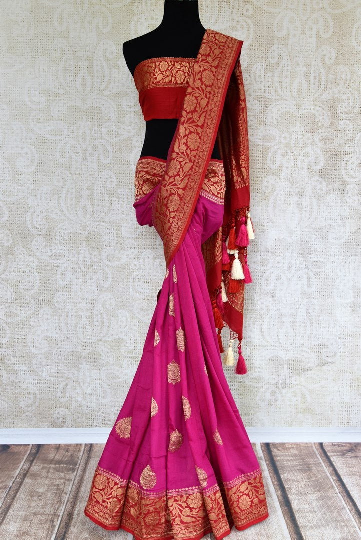 Buy bright pink muga Banarasi saree online in USA. Pure Elegance clothing store brings an exquisite variety of Indian woven Banarasi sarees for online shopping in USA. -full view