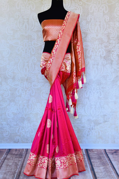 Buy pink resham work Banarasi silk saree online in USA. Pure Elegance clothing store brings exquisite range of Indian Banarasi sarees for online shopping in USA.-full view