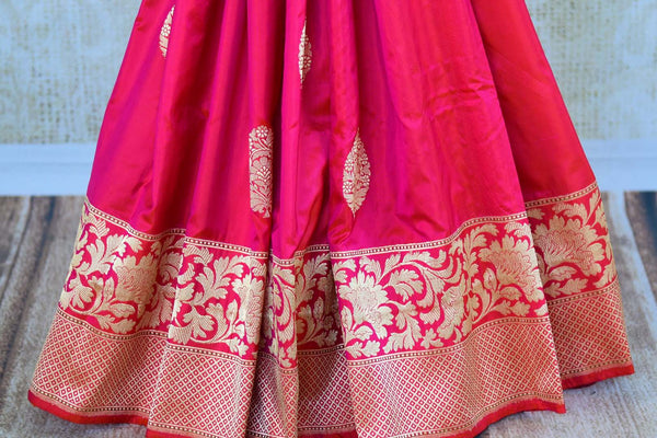 Buy pink resham work Banarasi silk saree online in USA. Pure Elegance clothing store brings exquisite range of Indian Banarasi sarees for online shopping in USA.-pleats