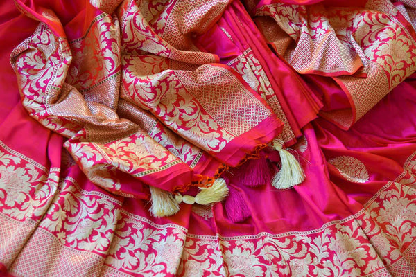 Buy pink resham work Banarasi silk saree online in USA. Pure Elegance clothing store brings exquisite range of Indian Banarasi sarees for online shopping in USA.-details