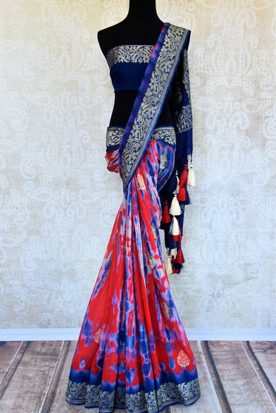 Buy red and blue marble dye georgette Banarasi sari online in USA. Pure Elegance store brings an exquisite range of Indian Banarasi sarees for online shopping in USA. -full view