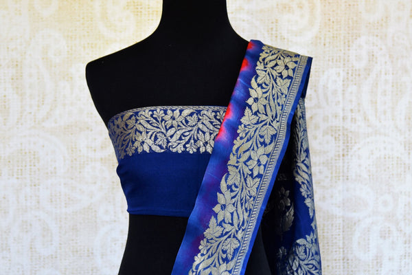 Buy red and blue marble dye georgette Banarasi sari online in USA. Pure Elegance store brings an exquisite range of Indian Banarasi sarees for online shopping in USA. -blouse pallu