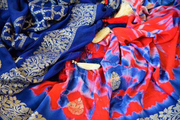 Buy red and blue marble dye georgette Banarasi sari online in USA. Pure Elegance store brings an exquisite range of Indian Banarasi sarees for online shopping in USA. -details
