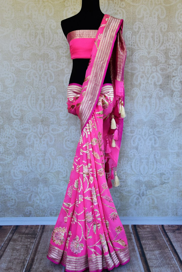 Buy pink georgette Banarasi saree online in USA. Pure Elegance store brings an exquisite range of Indian Banarasi georgette sarees for online shopping in USA. Shop online.-full view