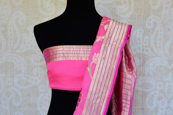 Buy pink georgette Banarasi saree online in USA. Pure Elegance store brings an exquisite range of Indian Banarasi georgette sarees for online shopping in USA. Shop online.-blouse pallu