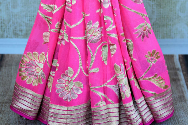 Buy pink georgette Banarasi saree online in USA. Pure Elegance store brings an exquisite range of Indian Banarasi georgette sarees for online shopping in USA. Shop online.-pleats