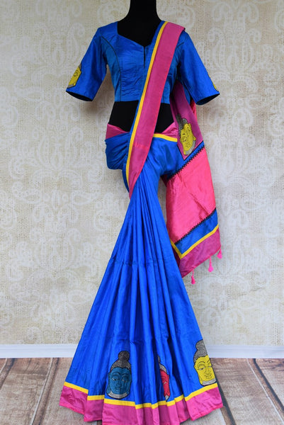 Buy blue Kalamkari print ghicha tussar saree online in USA. Pure Elegance store brings an exquisite range of Indian sarees for online shopping in USA. Shop online.-full view