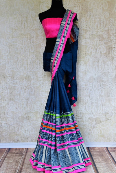 Buy elegant blue printed tussar silk saree online in USA. Pure Elegance store brings an exquisite range of Indian printed saris for online shopping in USA. Shop online.-full view