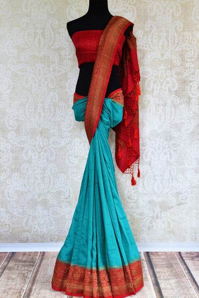 Buy blue muga silk saree with antique gold border online in USA. Explore a range of beautiful Indian Muga silk sarees for in USA at Pure Elegance clothing store or shop online. -full view